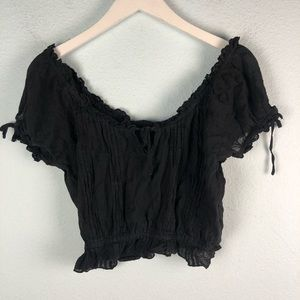 LF Millau black off the shoulder crop top small